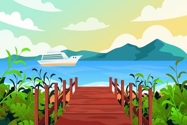 Fondo de pantalla de paisaje de verano para diseño de zoom