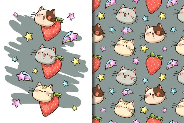 Fondo de pantalla y patrón de cara linda gato, fresa y dibujos animados de estrellas,