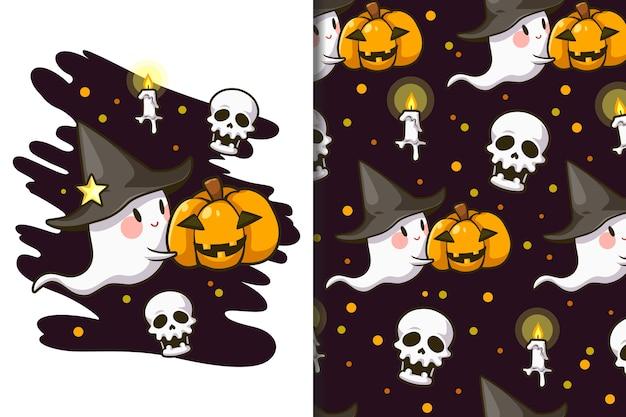 Fondo de pantalla y patrón de dibujos animados del festival de halloween