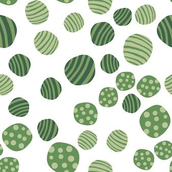 Fondo de pantalla de piedras verdes dibujadas a mano. patrón sin fisuras de guijarros. fondo de textura punteada geométrica abstracta. ilustración vectorial