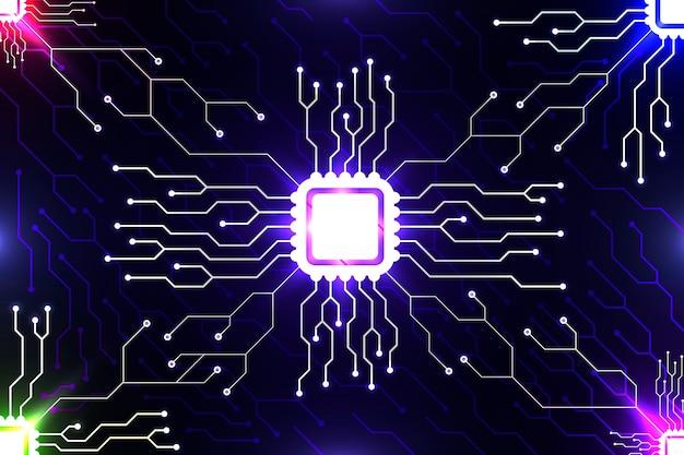 Fondo de pantalla de placa de circuito estilo neón