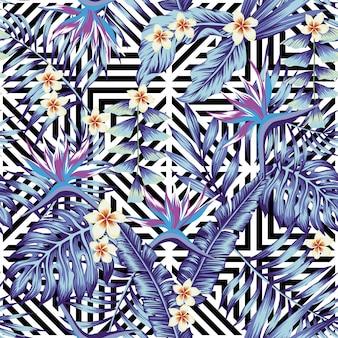 Fondo de pantalla de plantas y flores tropicales sin patrón