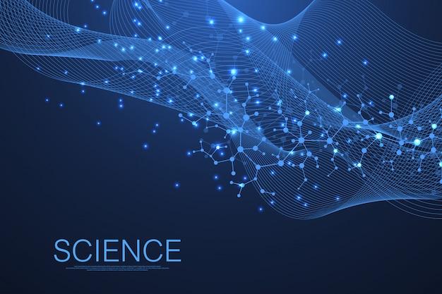 Fondo de pantalla de plantilla de ciencia o banner con moléculas de adn. flujo de olas.