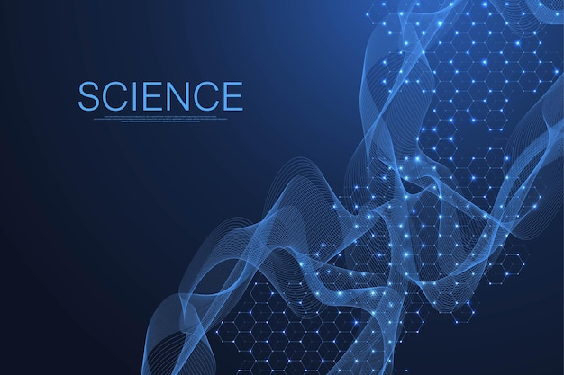 Fondo de pantalla de plantilla de ciencia o banner con moléculas de adn. ilustración vectorial
