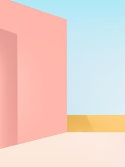 Fondo de pantalla del producto con pared pastel y colores celestes celestes