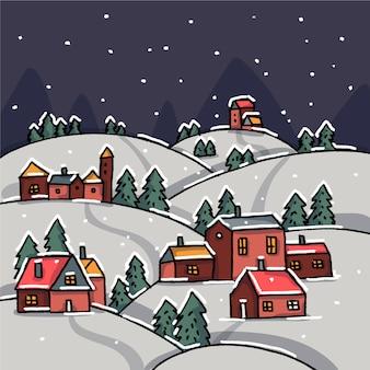 Fondo de pantalla de pueblo de navidad dibujado a mano