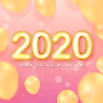 Fondo de pantalla realista de globos de año nuevo 2020