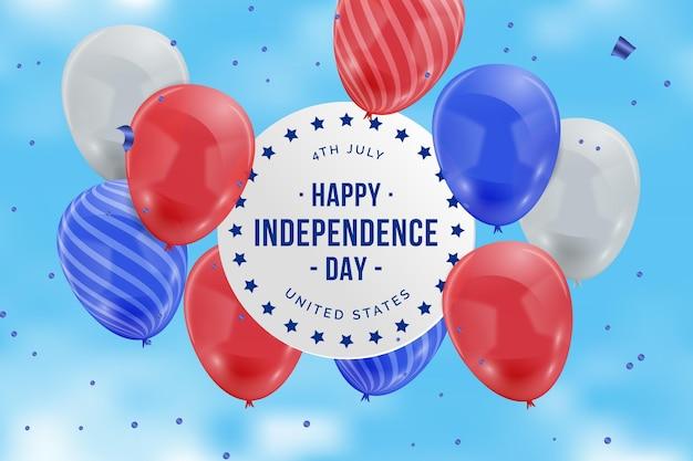 Fondo de pantalla realista de globos del día de la independencia