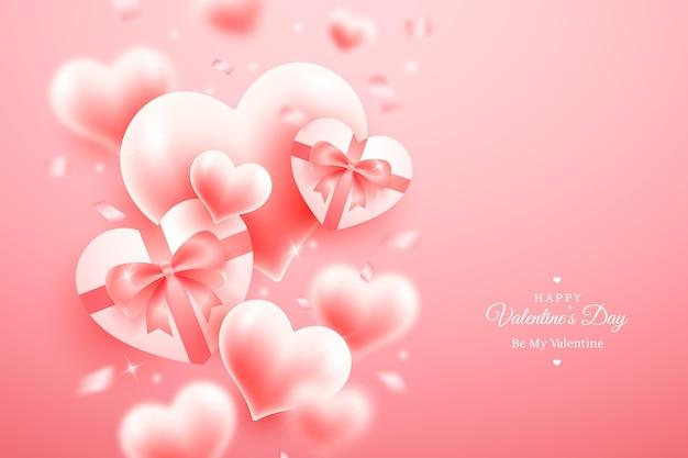 Fondo de pantalla realista de san valentín con corazones