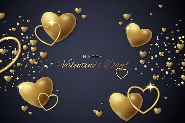 Fondo de pantalla de san valentín con corazones dorados
