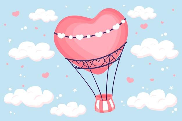 Fondo de pantalla de san valentín dibujado a mano con globo de aire caliente
