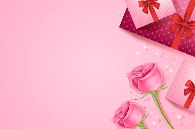 Fondo de pantalla de san valentín con rosas y regalos.