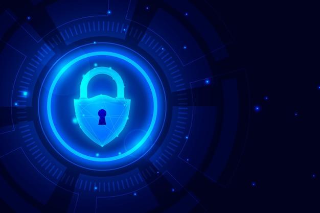 Fondo de pantalla de seguridad cibernética con elementos futuristas