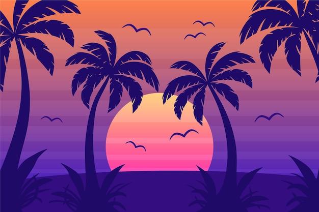 Fondo de pantalla de siluetas de palmeras coloridas