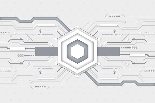 Fondo de pantalla de tecnología futurista blanco