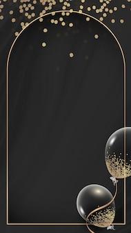 Fondo de pantalla de teléfono móvil de diseño de marco de globos de rectángulo dorado