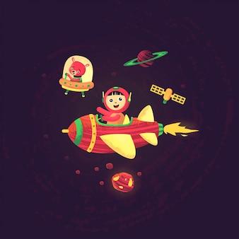 Fondo de pantalla de tema espacial con niños y oso