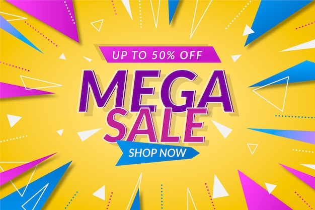 Fondo de pantalla de ventas colorido abstracto con oferta especial