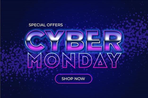 Fondo de pantalla de ventas de cyber monday de diseño plano