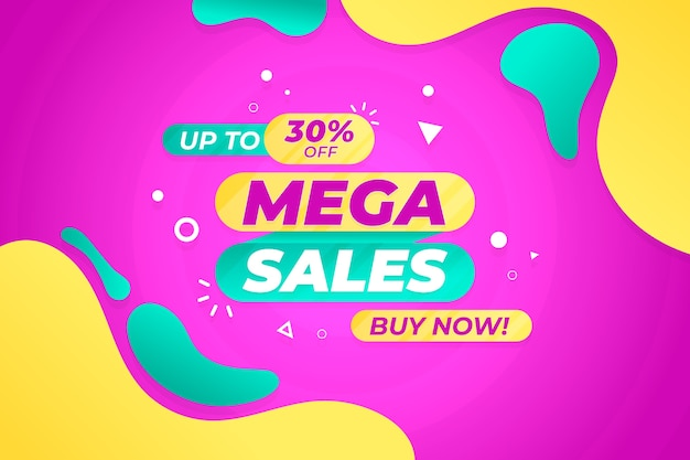 Fondo de pantalla de ventas con elementos abstractos coloridos