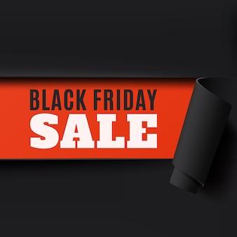 Fondo de papel abstracto rasgado de viernes negro. perfecto para folletos, carteles o volantes. ilustración.