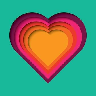 Fondo de papel cortado con efecto 3d, forma de corazón en colores vibrantes