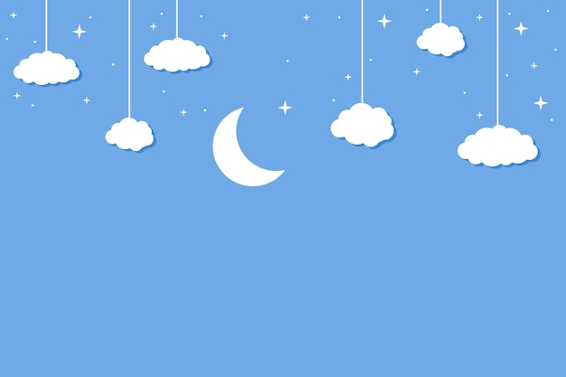 Fondo de papel cortado estilo luna y nubes que cuelgan de la parte superior