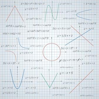 Fondo de papel de diagramas y fórmulas matemáticas