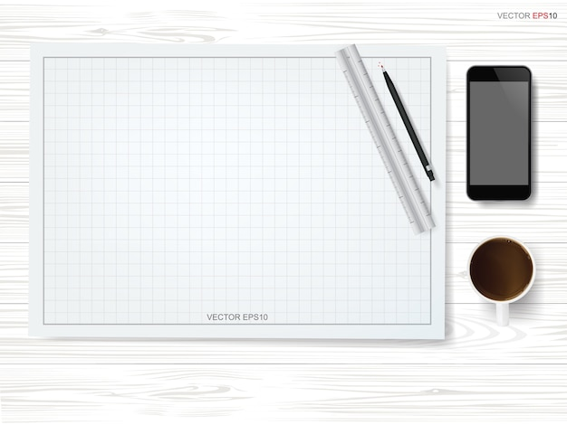 Fondo de papel de dibujo con taza de café y teléfono inteligente en madera blanca