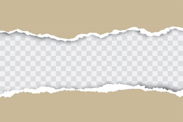 Fondo de papel rasgado marrón con lugar de transparencia para su texto.