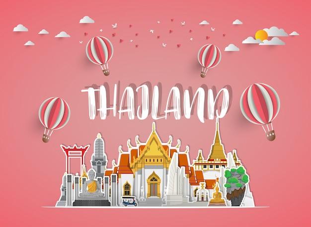 Fondo de papel de tailandia hito mundial viaje y viaje. .