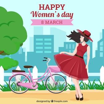 Fondo para el día de mujeres con mujer en parque