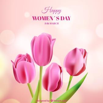 Fondo para el día de mujeres con rosas