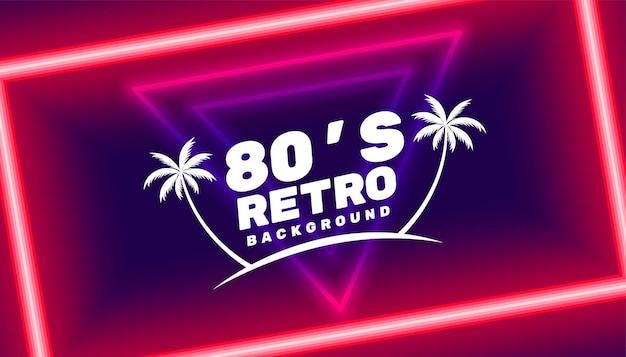 Fondo de paraíso retro de los 80 con formas led de neón