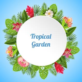 Fondo de paraíso tropical con composición de varias plantas, hojas y flores con plato blanco y texto