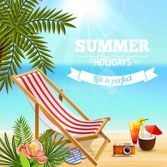 Fondo de paraíso tropical con texto editable y paisaje de playa de arena con tumbonas cócteles y plantas
