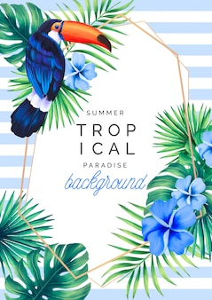 Fondo paraíso tropical con tucán