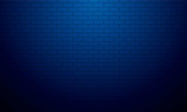 Fondo de pared de ladrillo degradado azul con luz suave, telón de fondo de exhibición de productos.