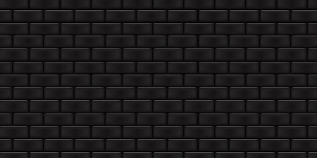 Fondo de pared de ladrillo negro aislado realista para decoración de plantilla y diseño.