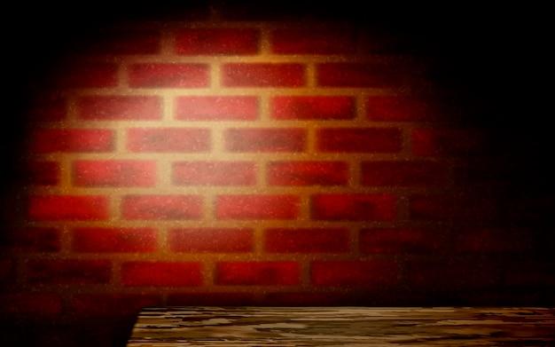 Fondo de pared de ladrillo rojo rústico, fondo de pared de ladrillo con mesa de madera y luz cálida naranja en ilustración 3d