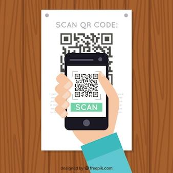 Fondo de pared de madera de móvil escaneando código qr