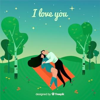 Fondo pareja en el campo romántico