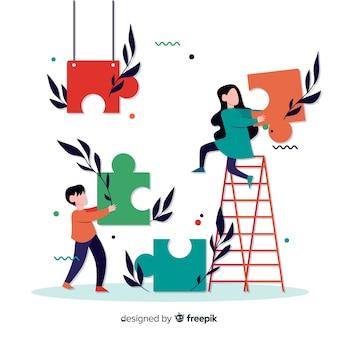 Fondo pareja conectando piezas de puzzle