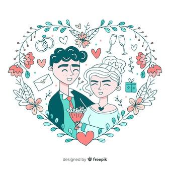Fondo de pareja de novios de boda dibujado a mano