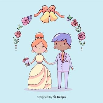 Fondo de pareja de novios de boda dibujados a mano