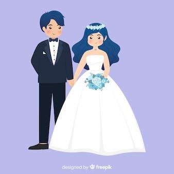 Fondo de pareja de novios de boda en diseño plano