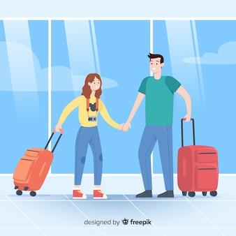 Fondo pareja viajando