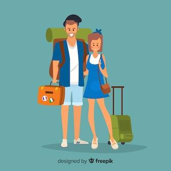 Fondo pareja yéndose de viaje