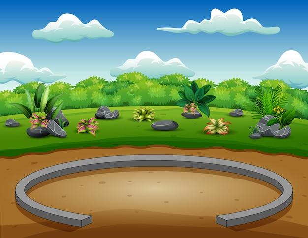 Fondo de parque con naturaleza verde