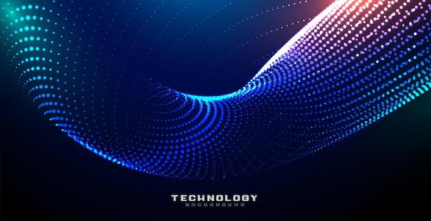Fondo de partículas brillantes de tecnología digital